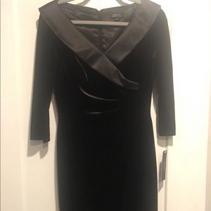 Tahari black velvet and satin dress